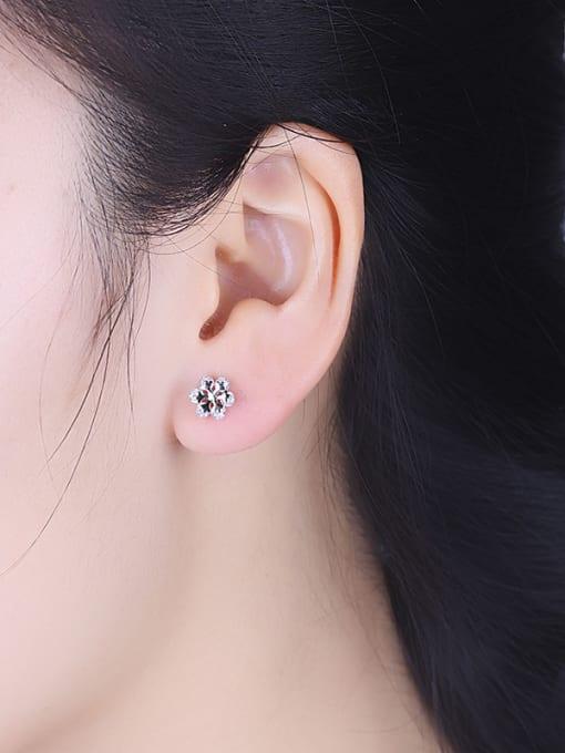 One Silver Trendy Snowflake Shaped Stud Earrings 1