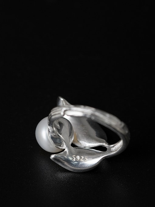 SILVER MI Leaves-shape Personality Adjustable Statement Ring 3