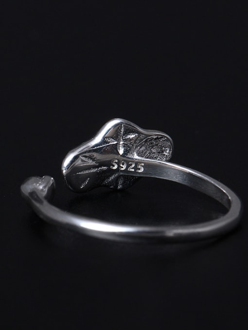 SILVER MI Color Lotus Leaf Opening Statement Ring 2