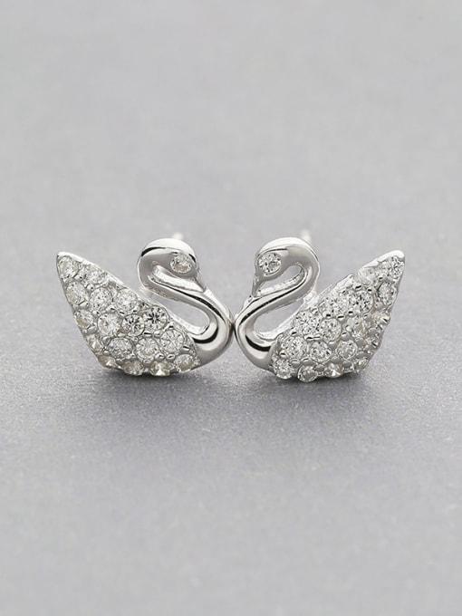 One Silver 925 Silver Swan Shaped Zircon stud Earring