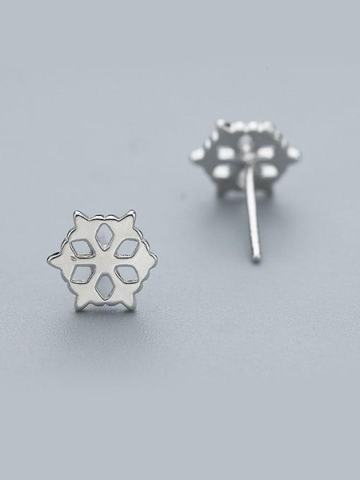 One Silver Temperament Hollow Flower Shaped Earrings 0