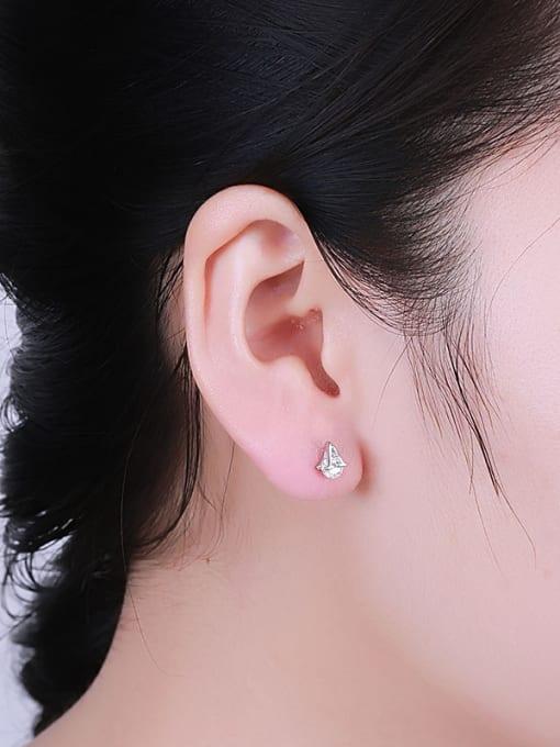 One Silver Women A Shaped stud Earring 1