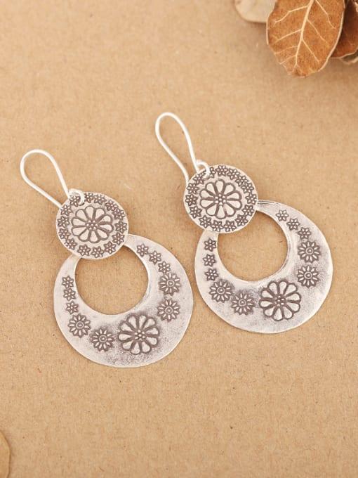 Peng Yuan Ethnic Handmade Silver Flowery hook earring