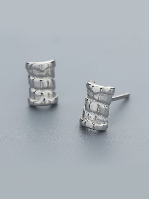One Silver Personality Bamboo Shaped Stud Earrings 0
