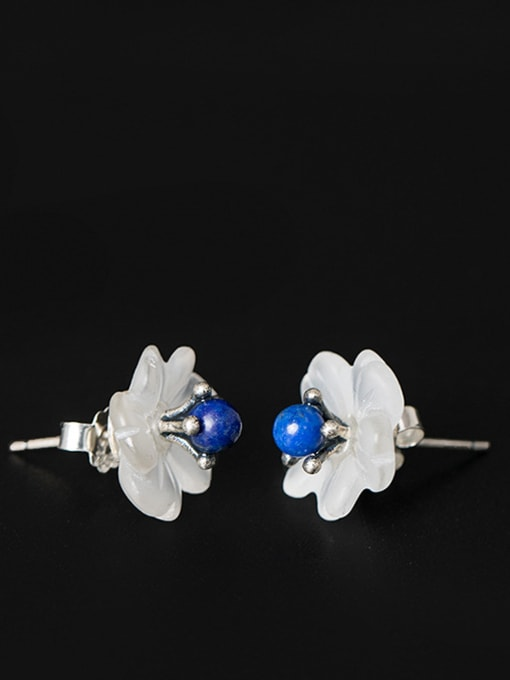 SILVER MI Natural Crystal Plum Blossom stud Earring 2
