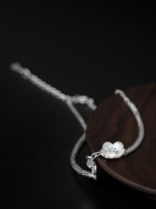 SILVER MI Flower Pendant Simple Style Bracelet 1