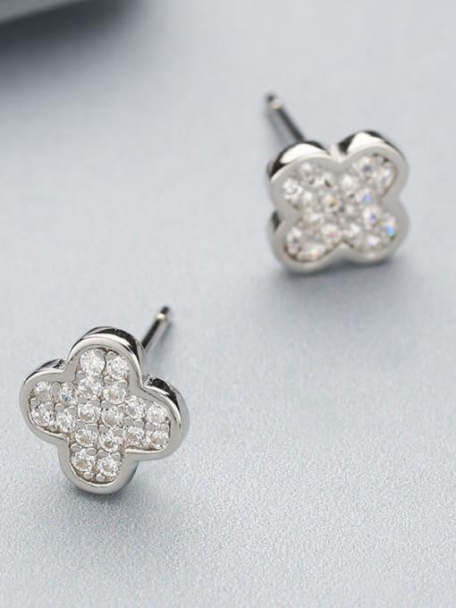 One Silver Women Clover Shaped Zircon Earrings 2
