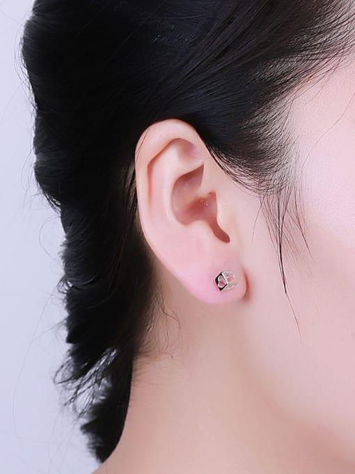One Silver Women Trendy Heart Shaped stud Earring 1