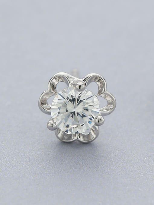 One Silver All-match Flower Shaped Zircon stud Earring 2