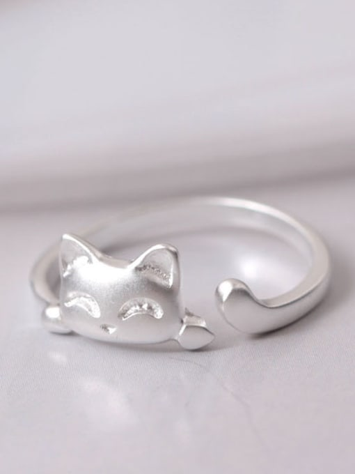 SILVER MI Fashion Lucky Cat Opening Ring