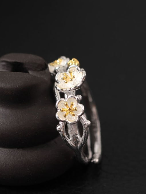 SILVER MI Flowers S925 Silver Adjustable Ring 2