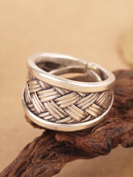 Peng Yuan Punk Woven Silver Handmade Ring 2