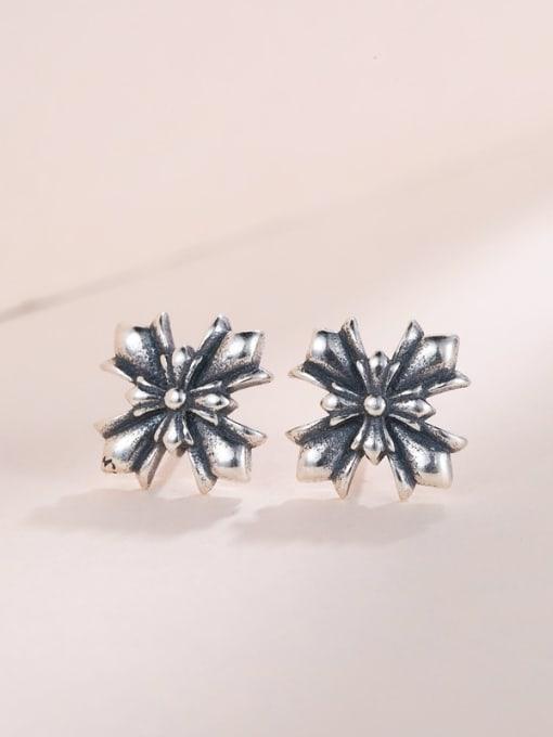 One Silver Women Double Cross Shaped Earrings 2