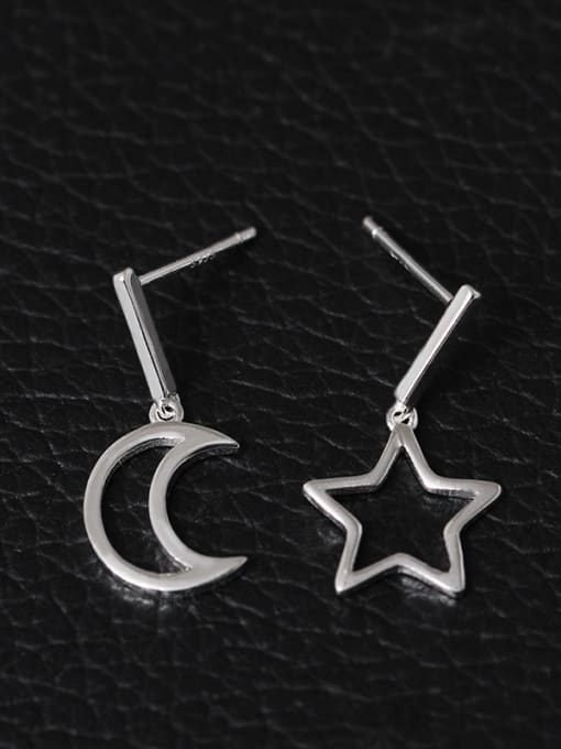 SILVER MI S925 Silver Hollow Moon Star drop earring