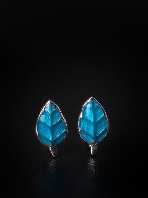 SILVER MI Blue Fresh Leaves-shape stud Earring