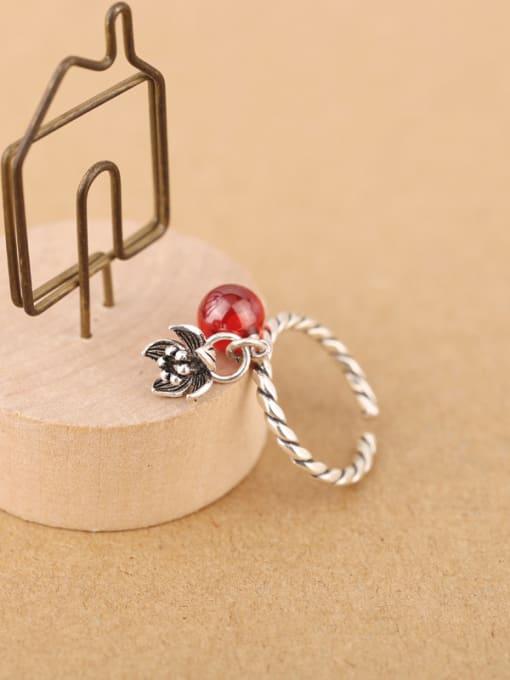 Peng Yuan Freshwater Pearl Garnet Flower Opening Ring 3