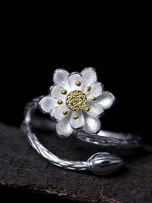 SILVER MI Lotus Flower-shape Opening Ring 2