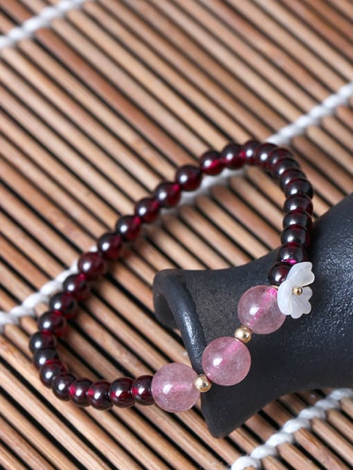 SILVER MI Natural Garnet Shell Flower bracelet 1