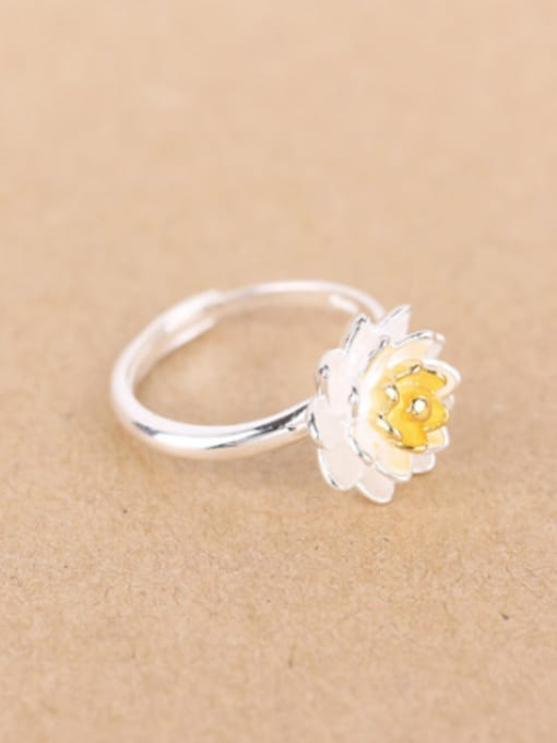Peng Yuan Ethnic Lotus Flower Silver Ring 1