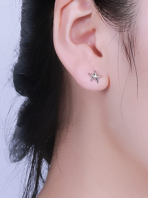 One Silver Fashionable Star Shaped Stud cuff earring 1