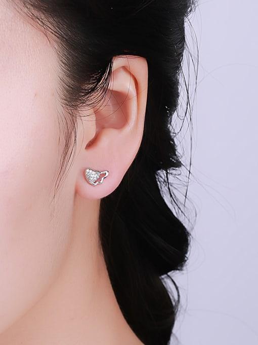 One Silver Fresh Heart Shaped Zircon stud Earring 2