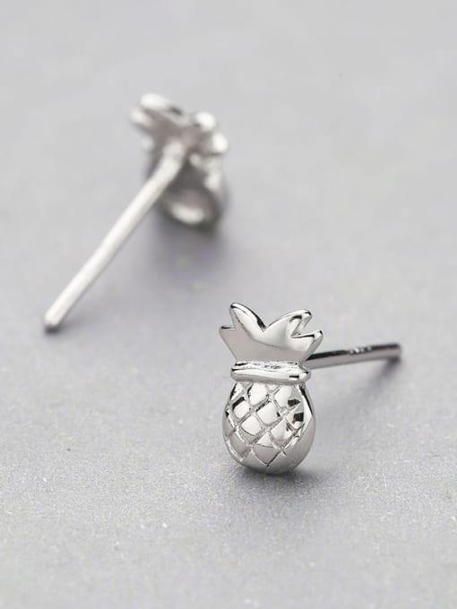One Silver Cute Pineapple Shaped stud Earring 2