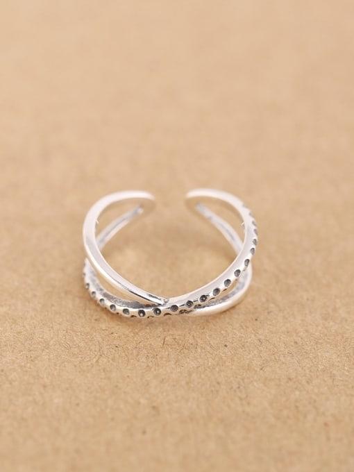 Peng Yuan Simple Silver Cross Opening Midi Ring 0