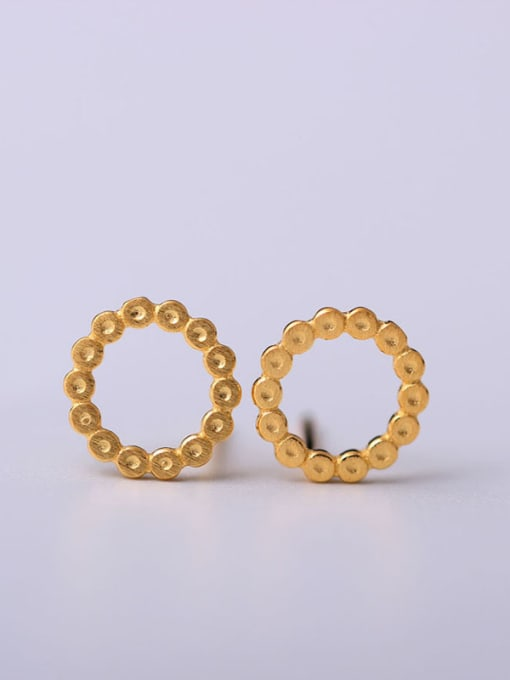 gold Gold Plated Round Stud Earrings