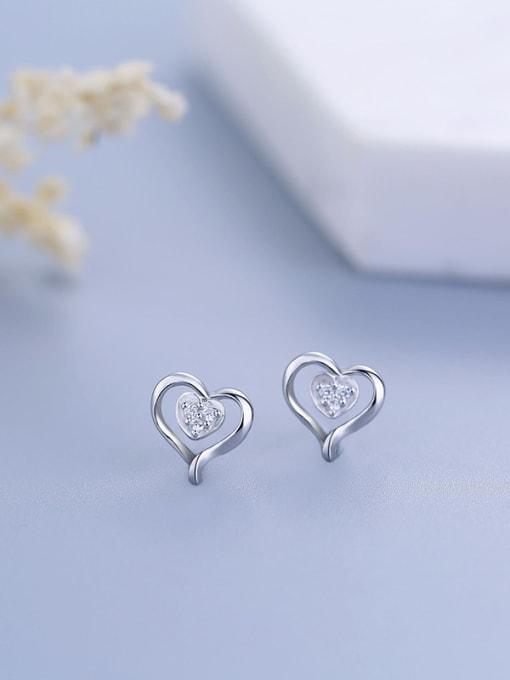 One Silver Elegant Heart Shaped Zircon Earrings 2