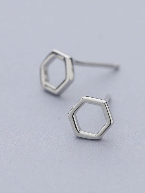 One Silver Women Simply Style Geometric stud Earring 0