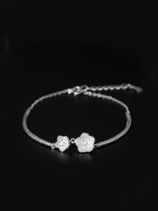 SILVER MI Flower Pendant Simple Style Bracelet