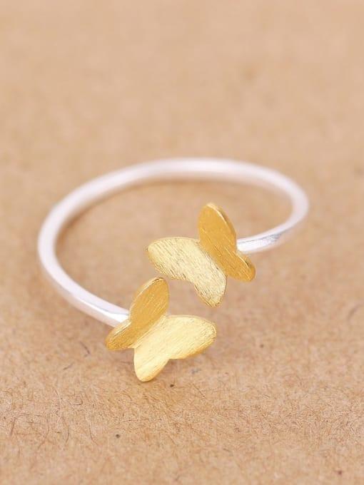 Peng Yuan Simple Butterflies Silver Opening Ring 0