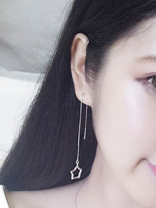 Peng Yuan Simple Hollow Star Line Earrings 1