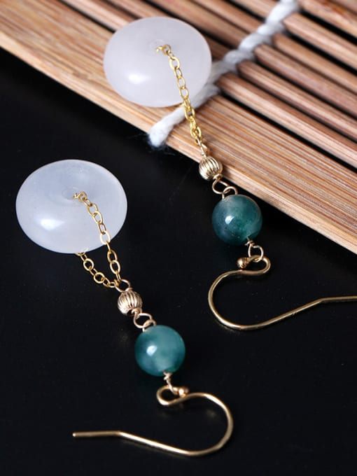 SILVER MI Elegant Jade Retro Style Drop Earrings 2