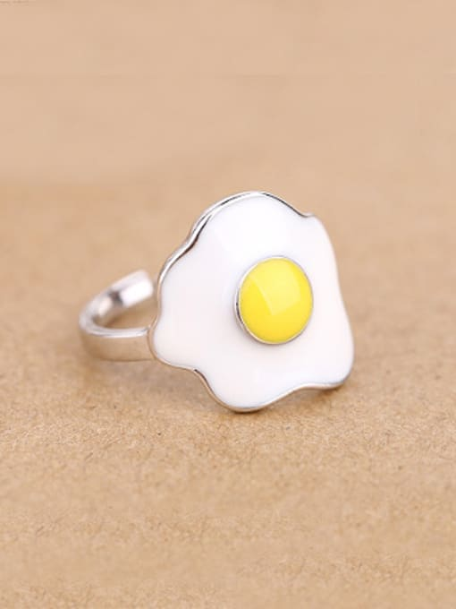 Peng Yuan Personalized Egg Silver Opening Ring 0