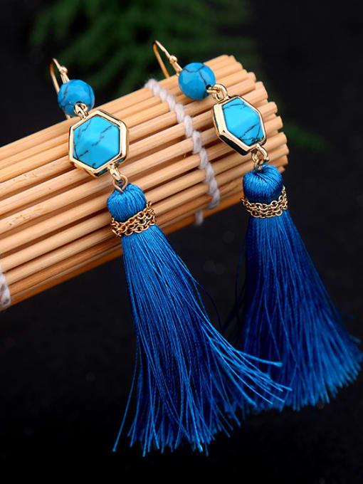 KM Long Blue Tassel Hook hook earring 2