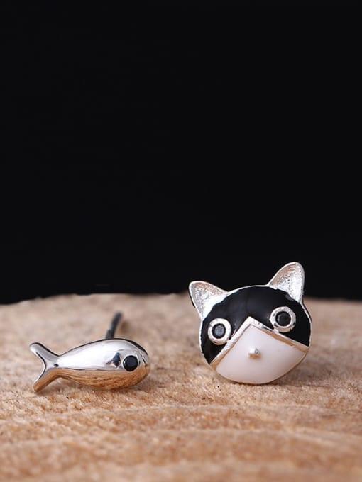 SILVER MI Temperament Cat and Fish stud Earring