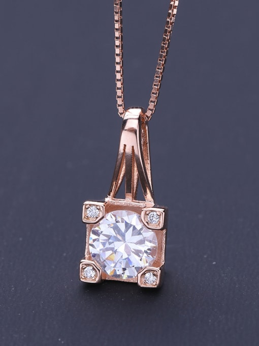 One Silver Rose Gold Plated Geometric Shaped Pendant 2