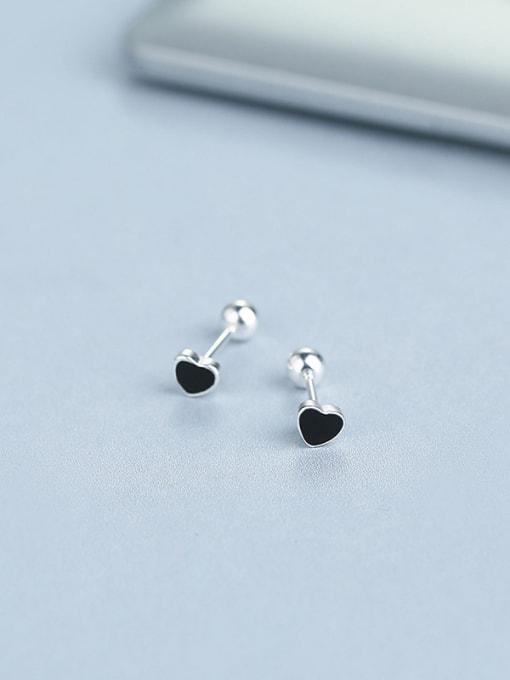 Black 925 Silver Black Heart Shaped stud Earring