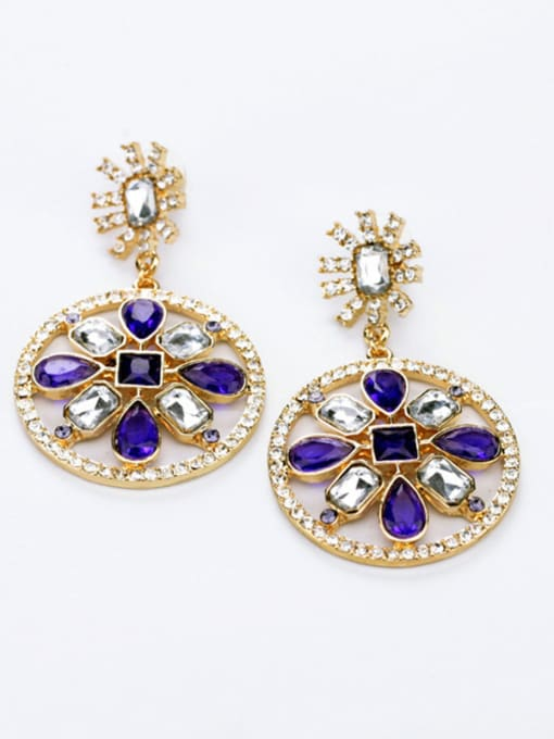 KM Purple Stones Round drop earring 0