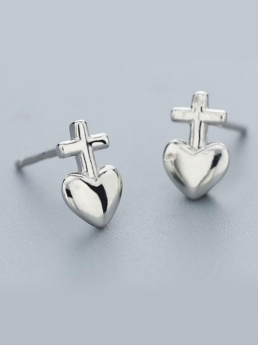 One Silver Lovely Heart Shaped Stud Earrings