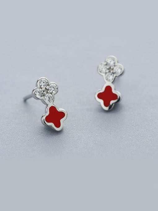 One Silver Red Clover Shaped Stud Earrings