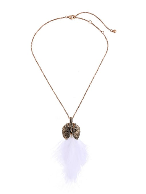 KM Swan Feather Pendant Sweater Necklace 0