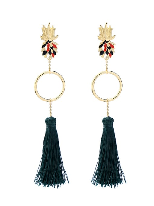 KM Retro Long Tassel Drop Chandelier earring