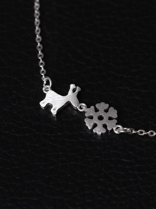 SILVER MI Christmas Snowflake Deer Clavicle Necklace