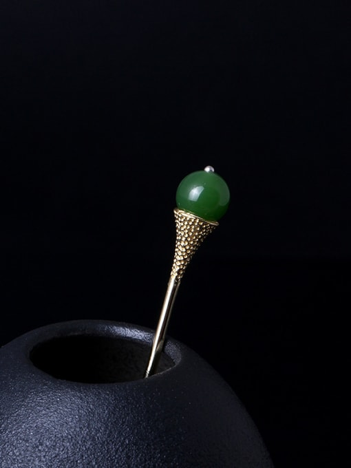 SILVER MI Retro Gold Plated Green Stone Hair Pick 0