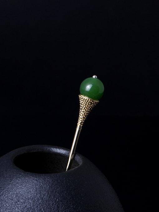SILVER MI Retro Gold Plated Green Stone Hair Pick