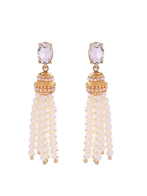 KM White Artificial Stones drop earring