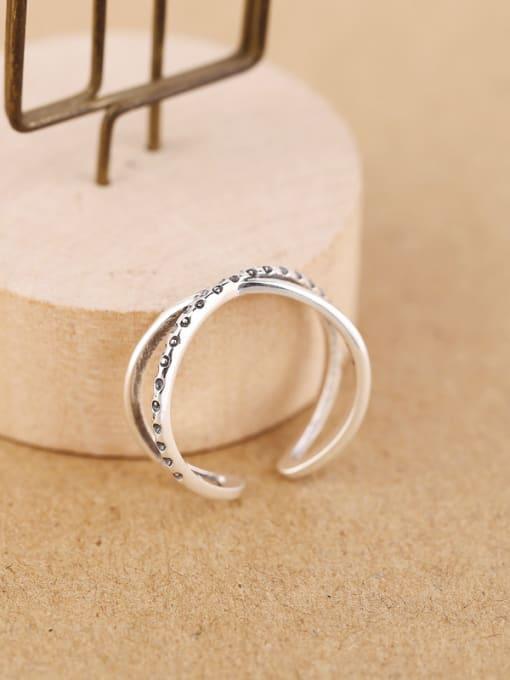 Peng Yuan Simple Silver Cross Opening Midi Ring 3