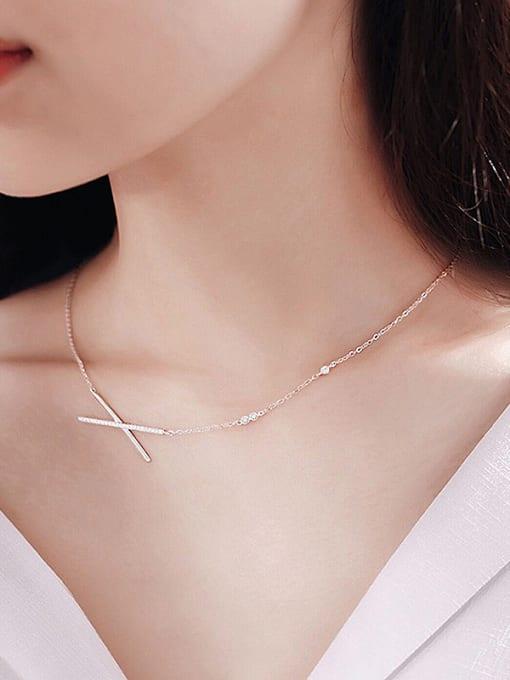 Peng Yuan Simple Cross Zircon Silver Necklace 1
